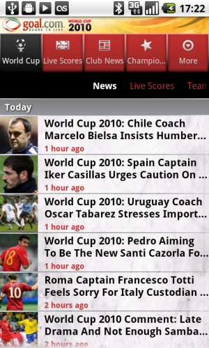 Goal.com World Cup App - News
