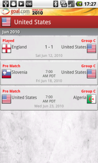 Goal.com World Cup App - Team Selected