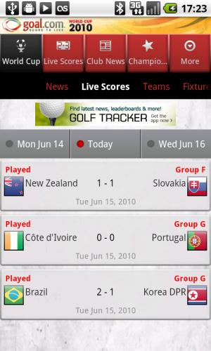 Goal.com World Cup App - Live Scores