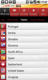 Goal.com World Cup App - Teams