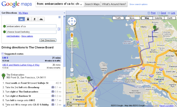 google maps driving directions to cheese board berkeley