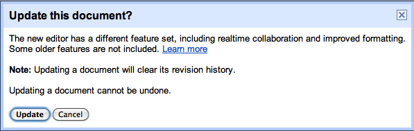 Update Google Docs