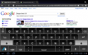 Swype 3.0 in full size mode in landscape orientation (Honeycomb)