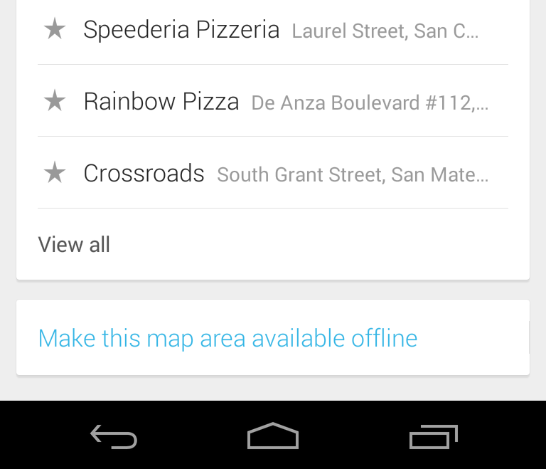 Offline mode in Google Maps version 7